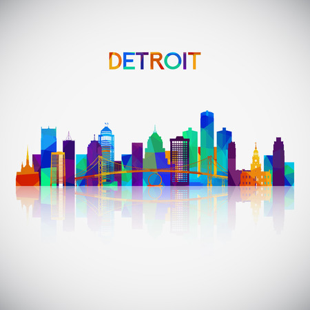 Detroit skyline silhouette in colorful geometric style. Symbol for your design. Vector illustration. Illusztráció