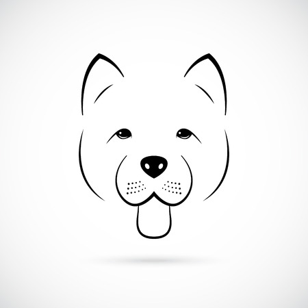 Portrait of cute Chow-Chow isolated on white background. Line art dog icon. Vector illustration.