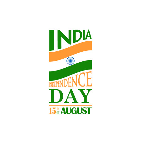 Design template for celebrating Independence Day of India.15th August greeting card. Vector banner.