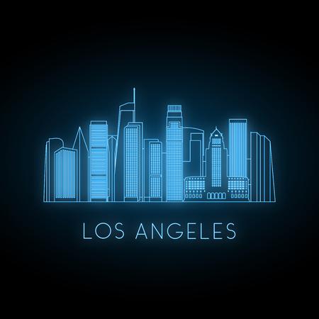 Silhouette néon de la ville de Los Angeles. Paysage de ville bleu brillant. Bannière de vecteur. Vecteurs