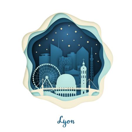 Paper art illustration of Lyon. Origami concept. Night city with stars. Vector illustration.