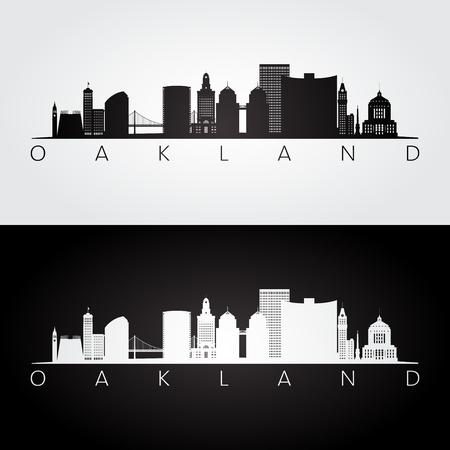 Oakland, USA skyline and landmarks silhouette, black and white design, vector illustration. Vettoriali