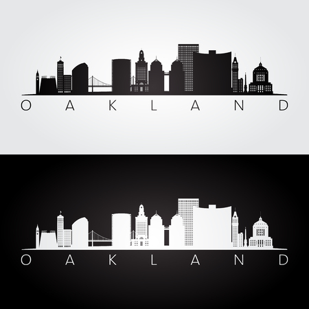 Oakland, USA skyline and landmarks silhouette, black and white design, vector illustration. 矢量图像
