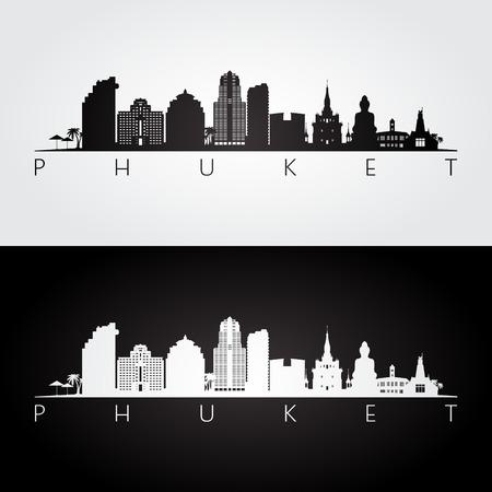 Phuket skyline and landmarks silhouette, black and white design, vector illustration. Illustration