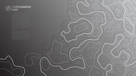 Topographic line map. Abstract topographic map banner with copy space. Vector background.