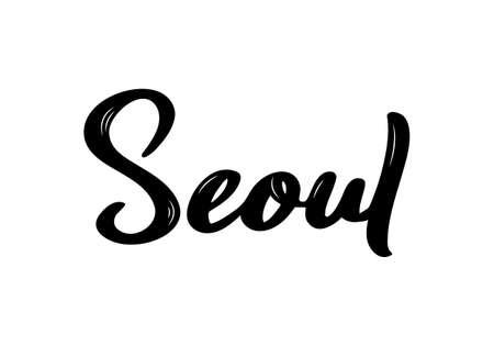 Seoul handwritten calligraphy name of South Korea capital. Hand drawn brush calligraphy. Vector Design Template.