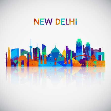 Silueta de horizonte de Nueva Delhi en estilo geométrico colorido. Símbolo para su diseño. Ilustración vectorial.