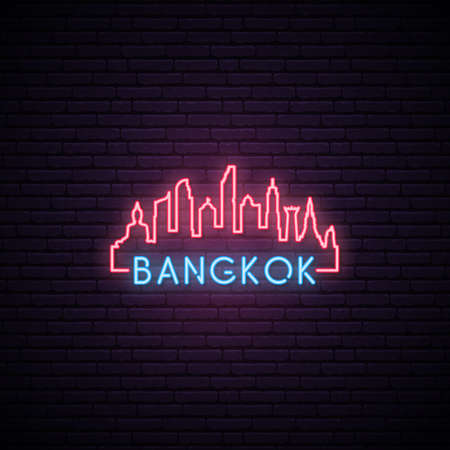 Concept neon skyline of Bangkok city. Bright Bangkok banner. Vector illustration.