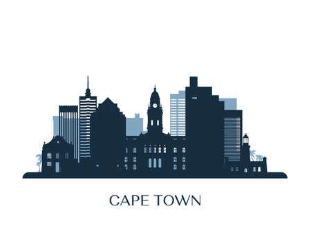 Cape Town skyline, monochrome silhouette. Vector illustration. Vektorové ilustrace