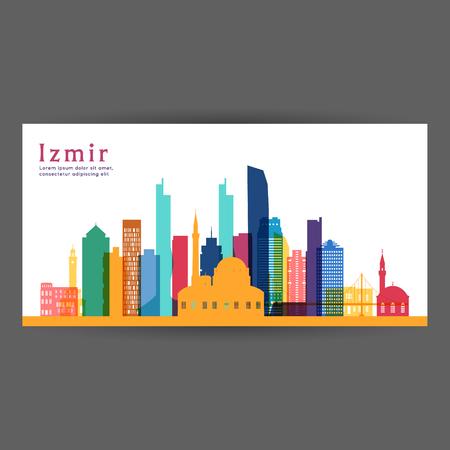 Bunte Architekturvektorillustration von Izmir, Skyline-Stadtschattenbild, Wolkenkratzer, flaches Design.
