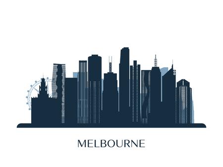 Melbrourne skyline, monochrome silhouette. Vector illustration.