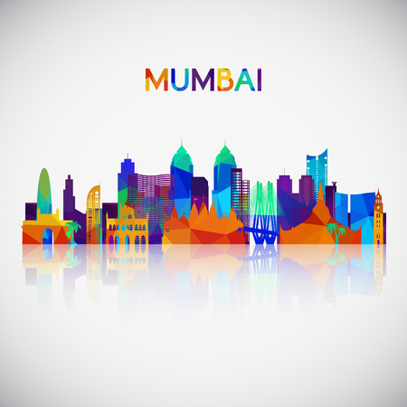 Mumbai skyline silhouette in colorful geometric style. Symbol for your design. Vector illustration.