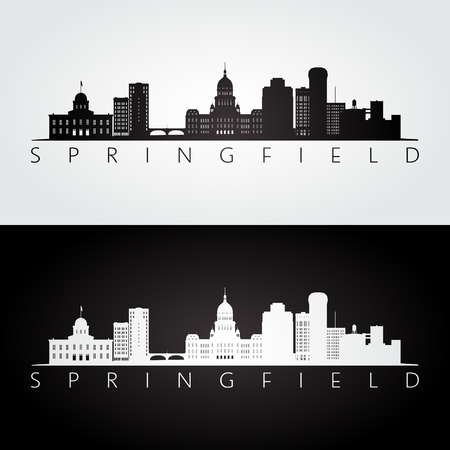 Springfield, USA skyline and landmarks silhouette, black and white design, vector illustration.