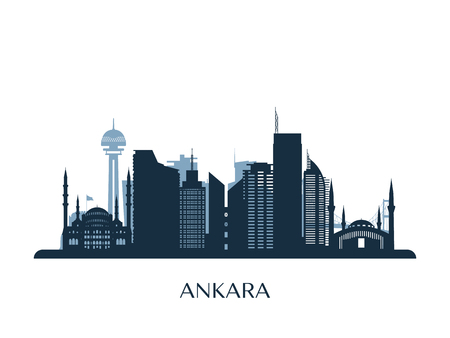 Ankara skyline, monochrome silhouette. Vector illustration.