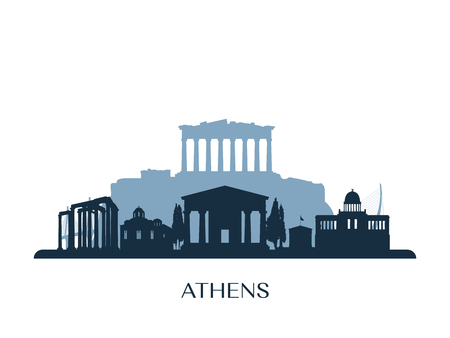 Athens skyline, monochrome silhouette. Vector illustration.