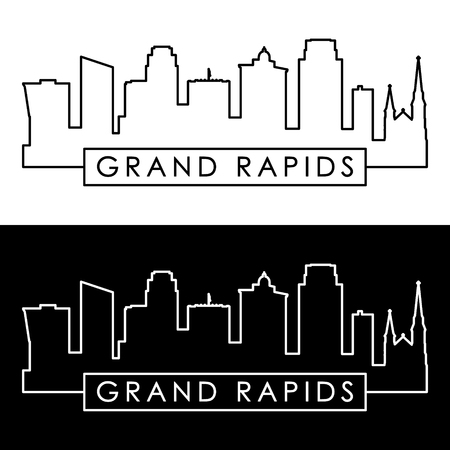 Grand Rapids skyline. Linear style. Editable vector file. Çizim