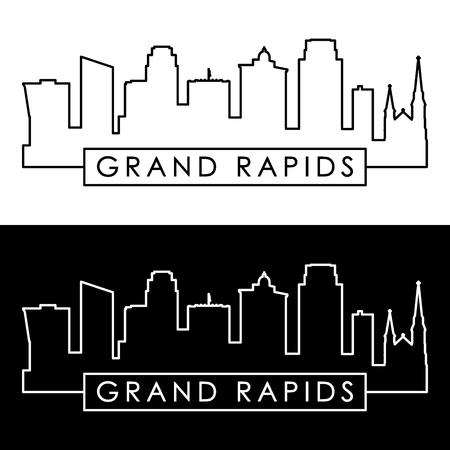 Grand Rapids skyline. Linear style. Editable vector file. Illustration