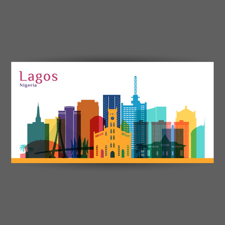 Lagos city architecture silhouette. Colorful skyline. City flat design. Vector business card. Illustration