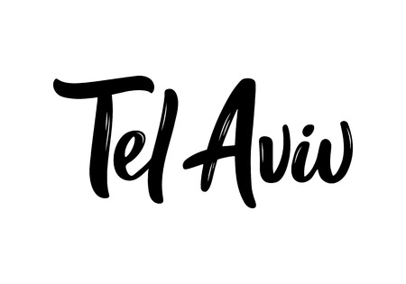 Tel Aviv handwritten calligraphy name of Israel capital. Hand drawn brush calligraphy. Vector Design Template.