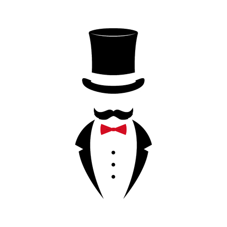 Gentleman with mustache in tuxedo and vintage hat. Black and white emblem design. Vector illustration