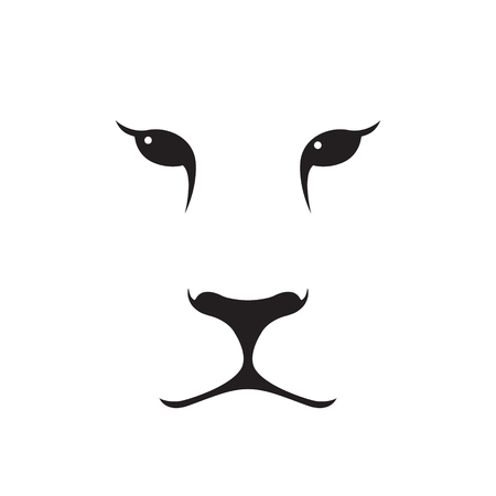 Puma muzzle silhouette. Wild animal emblem. Minimalist template design. Vector illustration.