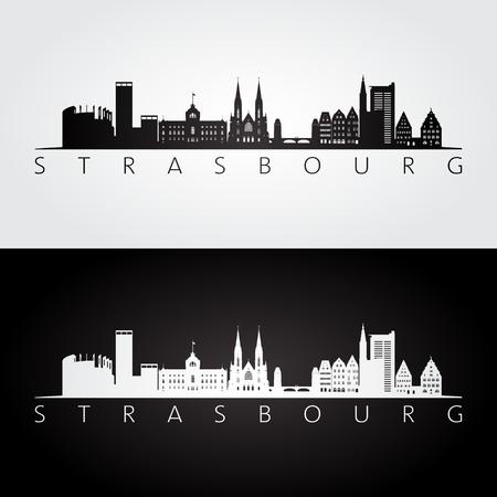 Strasbourg skyline and landmarks silhouette, black and white design, vector illustration. Vettoriali