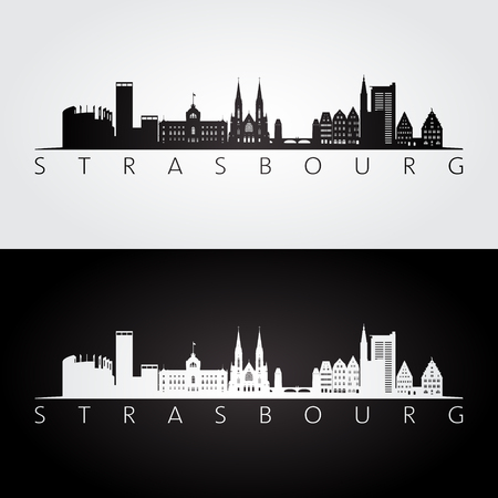 Strasbourg skyline and landmarks silhouette, black and white design, vector illustration. Ilustração