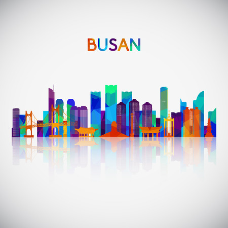 Busan skyline silhouette in colorful geometric style. Symbol for your design. Vector illustration. Çizim