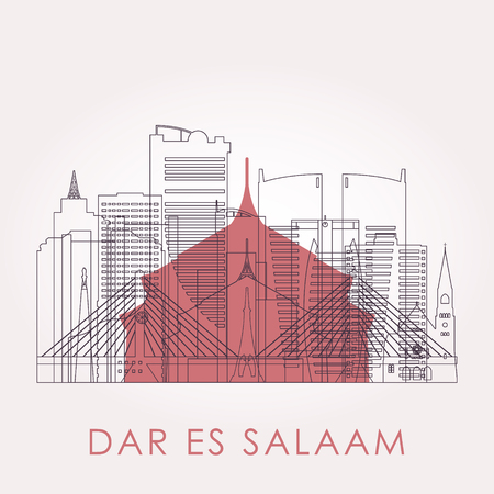 Outline Dar es Salaam skyline with landmarks. Vector illustration. Travel and tourism concept with historic buildings. Image for presentation, banner, placard and web site. Ilustração