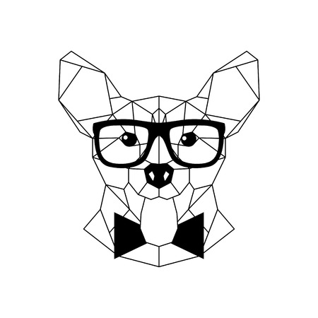 Polygonal Corgi Dog in fashion glasses and bow tie. Geometric dog icon. Vector illustration.
