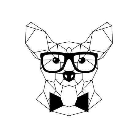 Polygonal Corgi Dog in fashion glasses and bow tie. Geometric dog icon. Vector illustration.