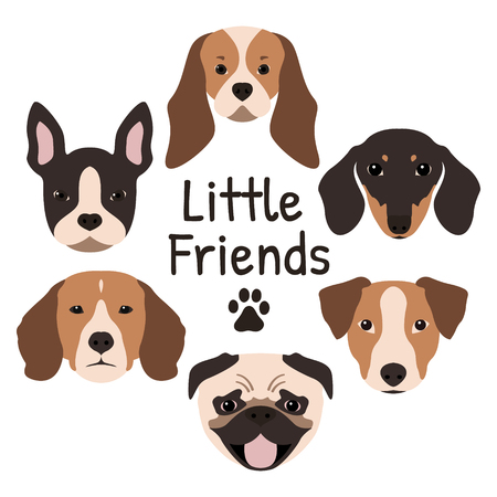 Set of 6 dog icons featuring the muzzle of a Pug, French Bulldog, Jack Russel Terrier, Dachshund, Beagle and Cavalier King Charles Spaniel. Vector illustration. Illustration