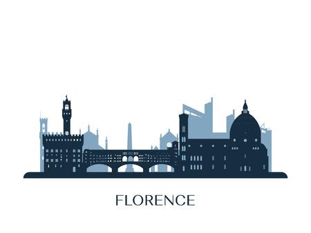 Skyline di Firenze, silhouette monocromatica. Illustrazione vettoriale.