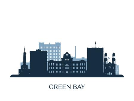 Skyline der grünen Bucht, monochrome Silhouette. Vektorillustration.