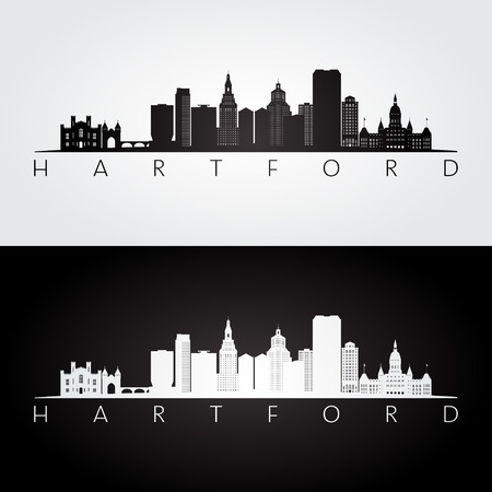 Hartford, USA skyline and landmarks silhouette, black and white design, vector illustration. 矢量图像