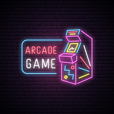 Neon sign of Arcade game machine. Neon entertainment emblem, bright banner. Advertising design. Night light signboard. Vector illustration.