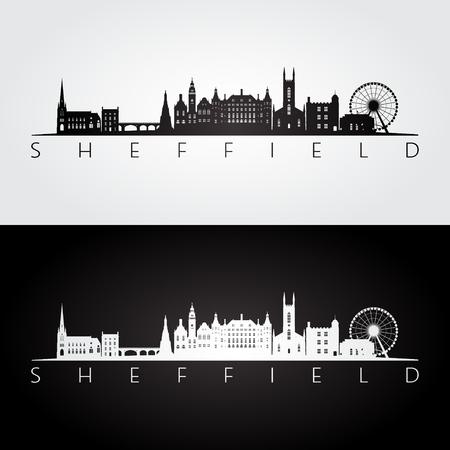 Sheffield skyline and landmarks silhouette, black and white design, vector illustration.