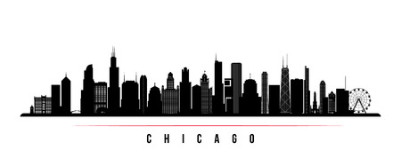 Chicago city skyline horizontal banner. Black and white silhouette of Chicago city, USA. Vector template for your design. Standard-Bild - 106156738