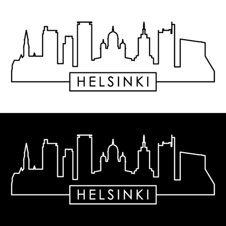 Helsinki skyline. Linear style. Editable vector file.