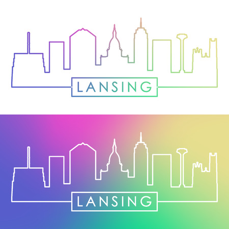 Lansing skyline. Colorful linear style. Editable vector file.