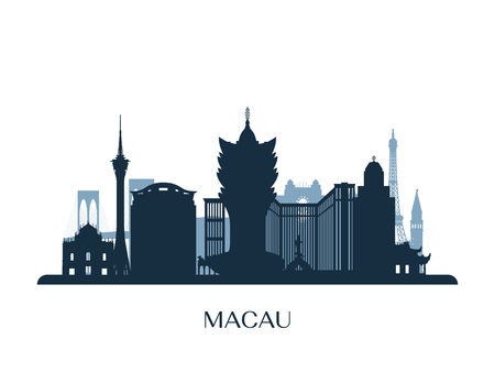 Macau skyline, monochrome silhouette. Vector illustration.