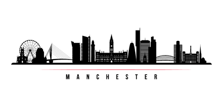 Manchester city skyline horizontal banner. Black and white silhouette of Manchester city, United Kingdom. Vector template for your design. 矢量图像