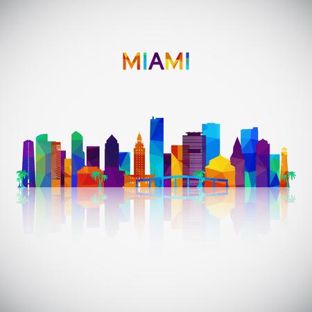 Miami Skyline Silhouette im bunten geometrischen Stil. Symbol für Ihr Design. Vektorillustration.