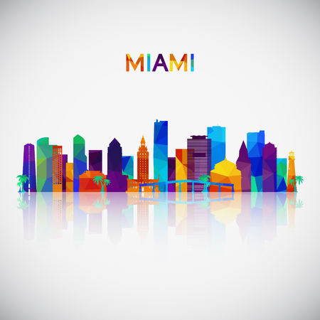 Miami skyline silhouette in colorful geometric style. Symbol for your design. Vector illustration. Vettoriali