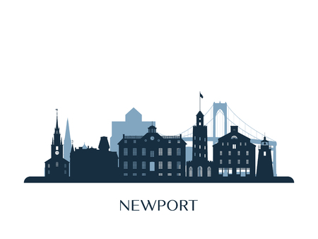 Newport skyline, monochrome silhouette. Vector illustration. 版權商用圖片 - 106512571