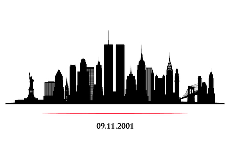 New York City Skyline with twins tower. World Trade Center. 09.11.2001 American Patriot Day anniversary banner. Vector illustration. 版權商用圖片 - 112082280