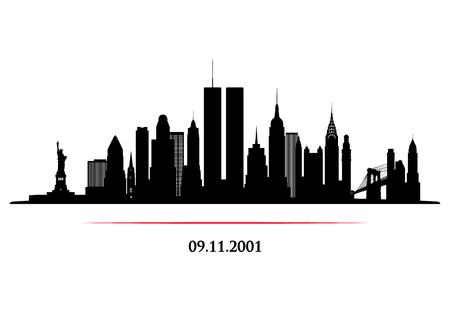 Skyline de la ciudad de Nueva York con torre de gemelos. World Trade Center. 09.11.2001 Banner de aniversario del Día del Patriota Estadounidense. Ilustración de vector. Ilustración de vector