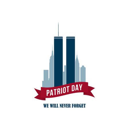 Carte 9/11 Patriot Day avec Twins Towers. Bannière USA Patriot Day. 11 septembre 2001. World Trade Center. Nous ne t'oublierons jamais. Modèle de conception de vecteur pour Patriot Day.