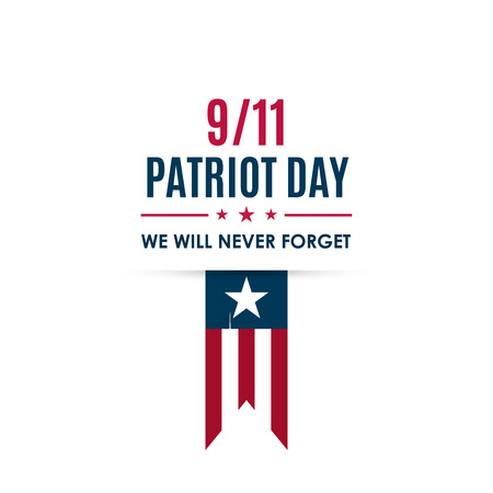 911 Patriot Day banner. USA Patriot Day card. September 11, 2001. We will never forget you. Vector design template for Patriot Day.