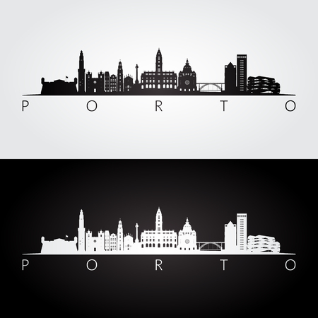 Porto skyline and landmarks silhouette, black and white design, vector illustration.